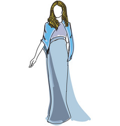 drawn woman in blue evening dress vector image