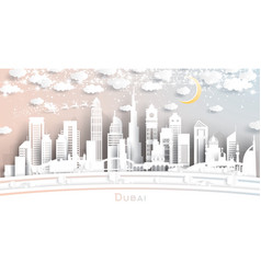 dubai uae city skyline in paper cut style with vector image