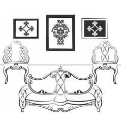 Elegant Interior set with leather furniture vector image