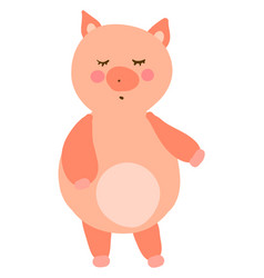 Fat little pig on white background vector