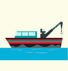 fishing ships with hook ship at sea vector image