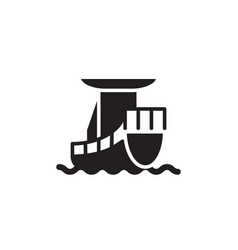 flat glyph ship cargo icon symbol sign logo vector image