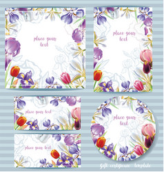 floral card template design with irises vector image