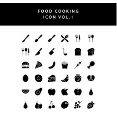 food cooking icon glyph style set vol 1 vector image