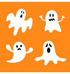 Funny flying ghost setDifferent emotions face vector
