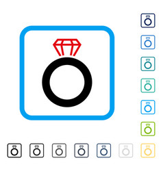 gem ring framed icon vector image