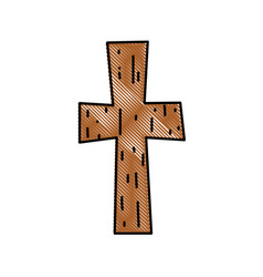 grated religion wood cross catholic symbol vector image