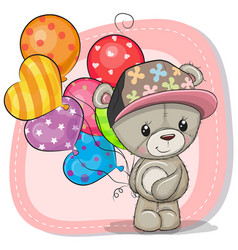 Greeting card teddy bear with balloons vector