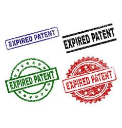 Grunge textured expired patent stamp seals vector