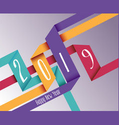 happy new year 2019 simple origami background vector image