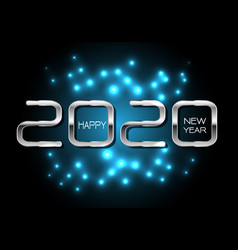 happy new year 2020 silver on blue light black vector image