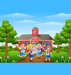 Happy school children in front of school building vector