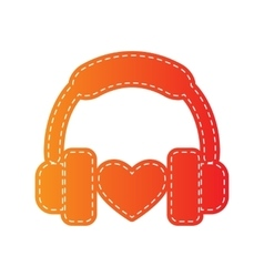 Headphones with heart Orange applique isolated vector image