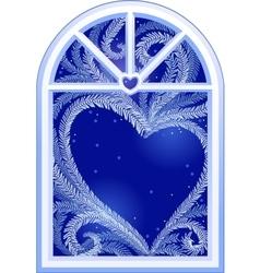 Heart on window vector image