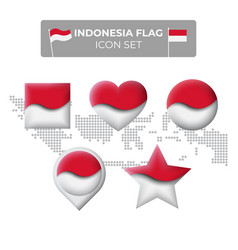 Indonesia flag icons set in shape square vector