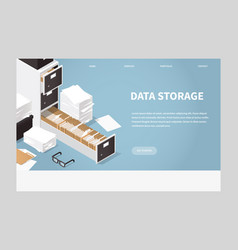isometric concept folder archive vector image