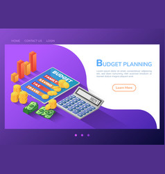 isometric web banner budget planning application vector image