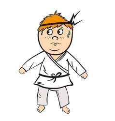 Karate cartoon kid red head with black belt vector