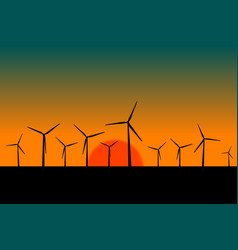 landscape with black silhouettes of windmills at vector image