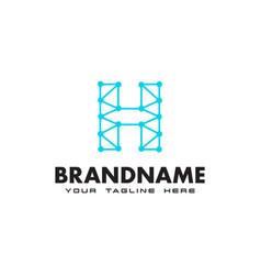 Letter h dot network connection logo design vector
