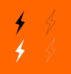 Lightning black and white set icon vector