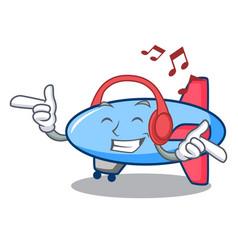 Listening music zeppelin mascot cartoon style vector