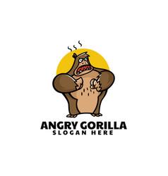 logo angry gorilla mascot cartoon style vector image