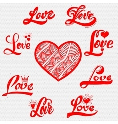 Love calligraphic inscriptions for postcards vector image vector image