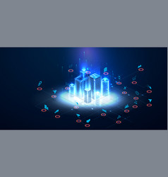low poly smart city wireframe sparkle stardust vector image