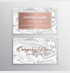 luxury business card with marble texture and vector image
