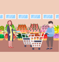 man woman customers holding trolley cart buying vector image