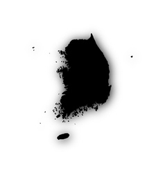 Map of South Korea with shadow vector image