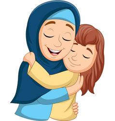 muslim mother hugging her daughter vector image