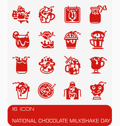 National chocolate milkshake day icon set vector