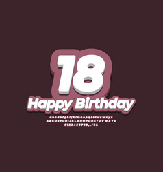 Number 18 eighteen year celebration birthday font vector