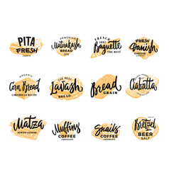 Pastry and bread logotypes set vector