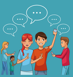 people chatting with smartphone vector image