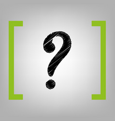 question mark sign black scribble icon in vector image