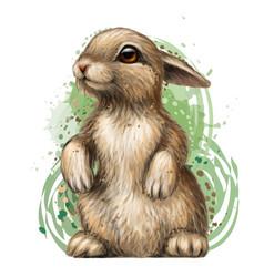 rabbit color artistic graphic image a rabbit vector image