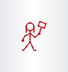Red girl with sign in hand icon vector