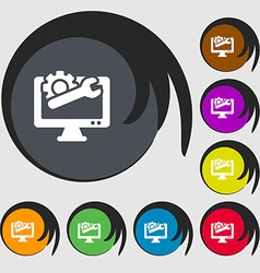 repair computer icon sign Symbols on eight colored vector image