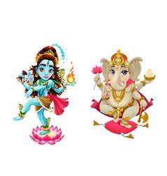 Representation of hindu gods Shiva and Ganesha vector