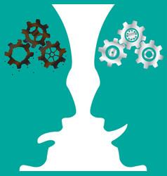 rusty cogwheel brain vs new cogwheel brain vector image