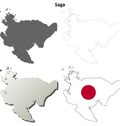 Saga blank outline map set vector
