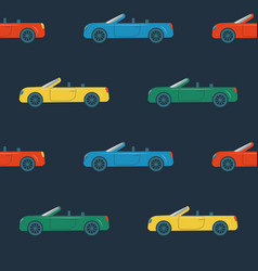seamless pattern with cabriolet cars vector image
