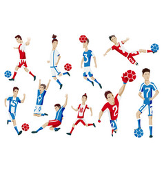 set football player characters showing vector image