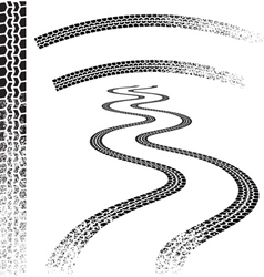 Set high quality grunged tire tracks vector