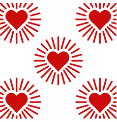 Set icons shining heart heart with rays of love vector