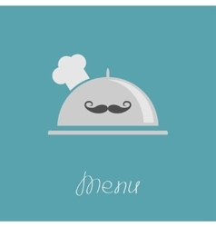 Silver platter cloche Chef hat with moustache vector