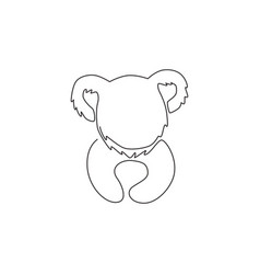 single continuous line drawing funny koala vector image